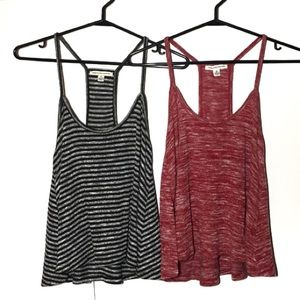 Two American Eagle Ribbed Tanks